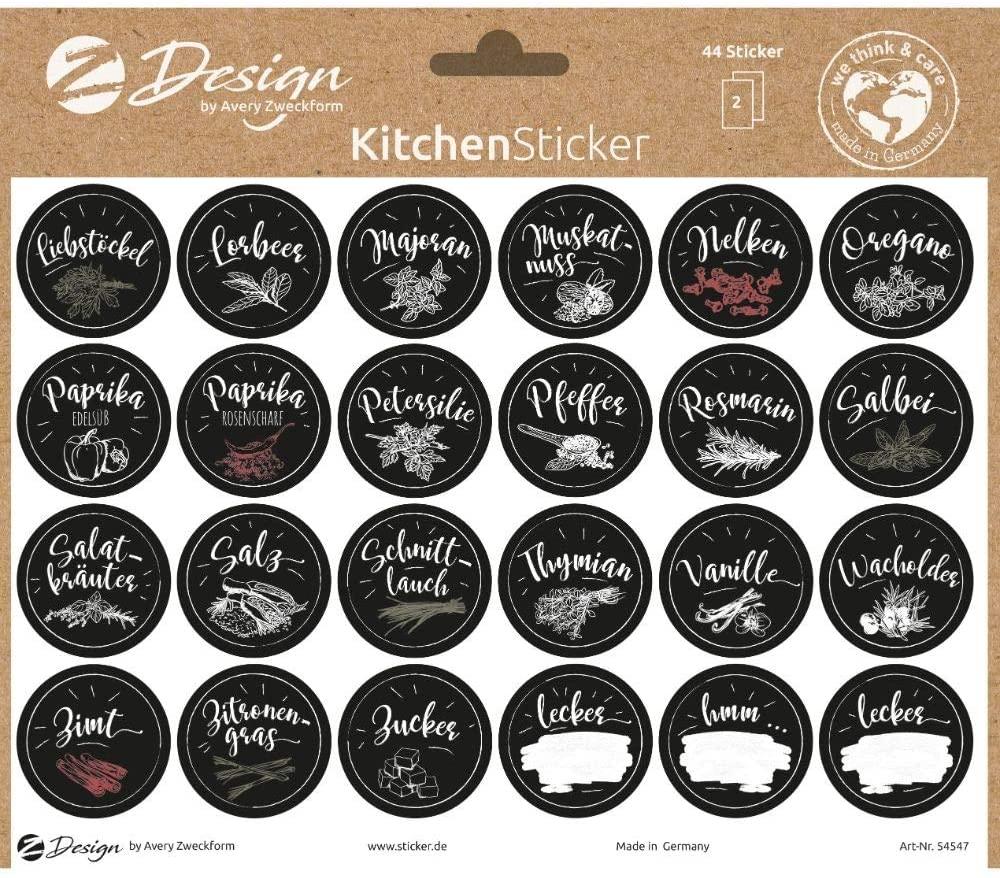 AVERY Zweckform 54547 Gewürzaufkleber 48 Stück (Sticker auf A5 Bogen, Etiketten für Küche, Gewürze,