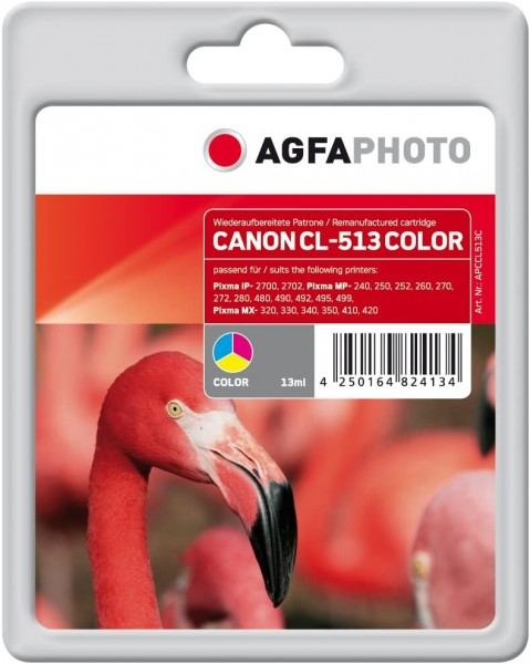 AgfaPhoto Tintenpatrone CL513C (farbig) kompatibel (für Canon Pixma iP-2700, 2702, Pixma MP-240, 25