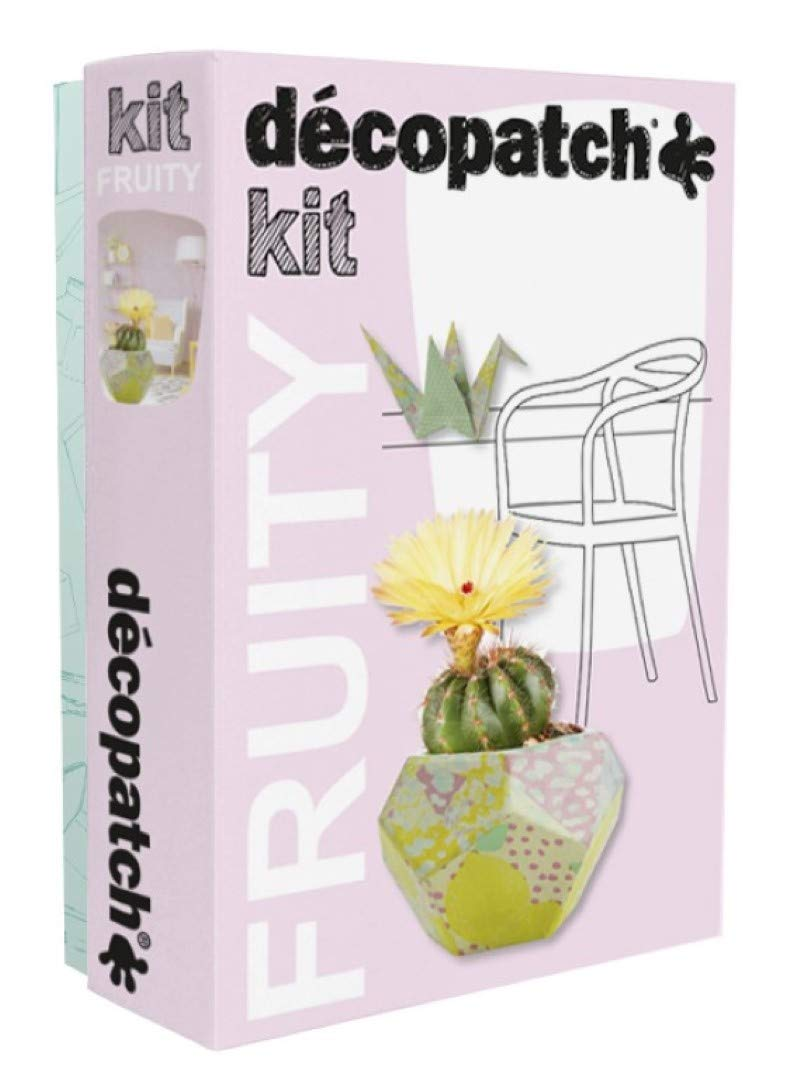 Décopatch KIT023C Fruity Kit (mit 3 Bögen Papier (30 x 40 cm), 1 Pinsel, 1 Vase und 1 Kranich (aus P