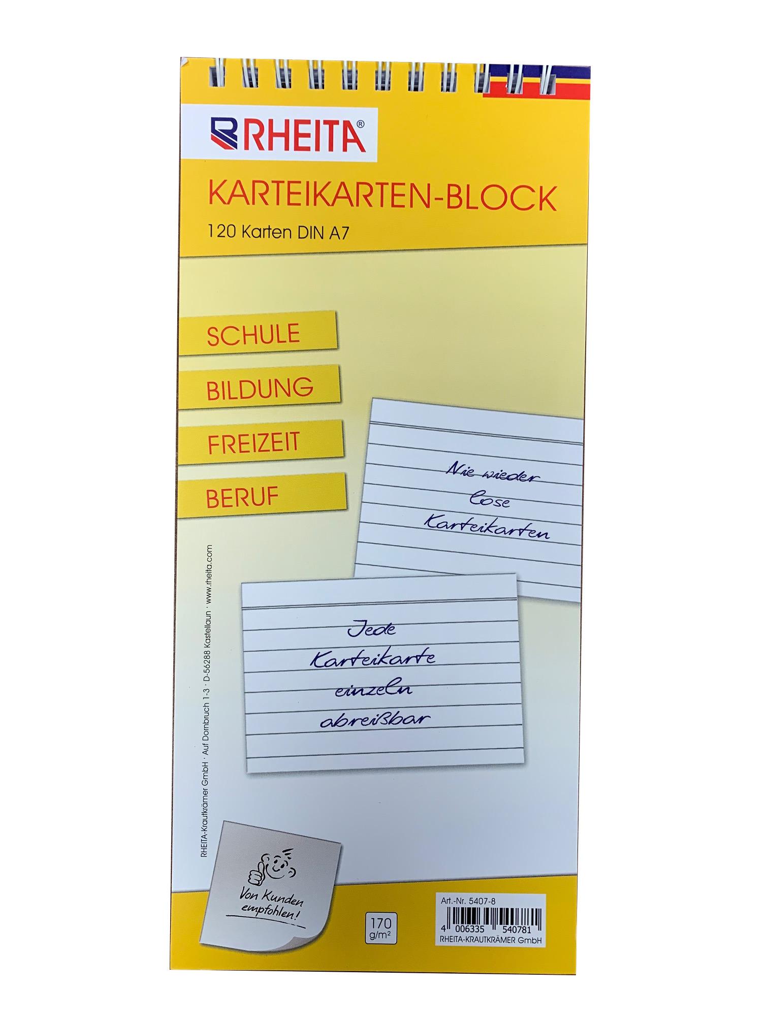 Vorschau: Karteikarten-Block liniert DIN A7 mit 120 Karten 170g/m² ideal für Schule Bildung Freizeit u. Beruf
