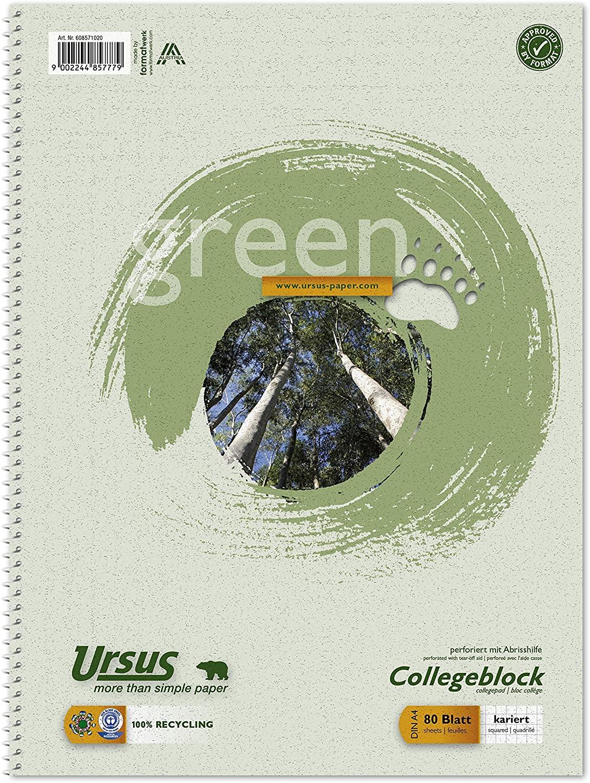 Ursus Green 608571020-10 Collegeblock 10 Stück - A4, 80 Blatt, 60g/qm, 5 mm, kariert