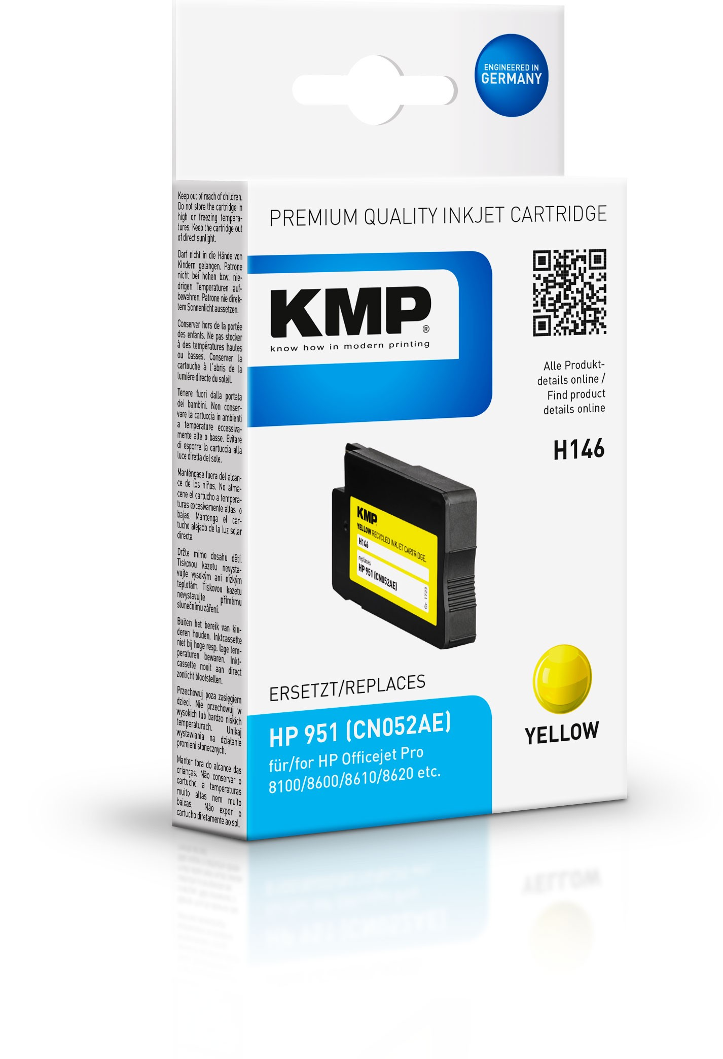 KMP Patrone H146 für CN052AE HP 951 Officejet Pro 8100 etc. yellow pig.