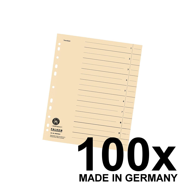 100x Falken Trennblätter 80001845 DIN-A4, 24x30cm, lochverstärkt, 180g/m² Karton, chamois