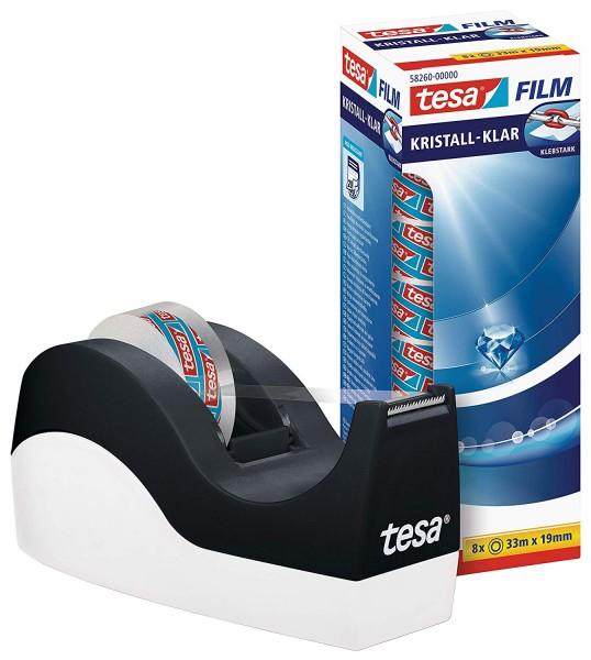 tesa Easy Cut Orca Tischabroller (rutschfest, einfache Handhabung, sauberer Schnitt mit 8 Rollen tes