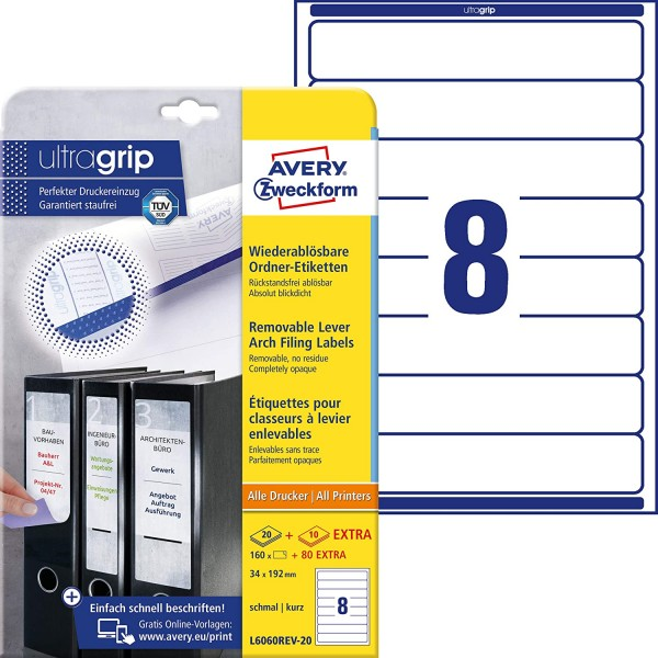 AVERY Zweckform L6060REV-20 Ordnerrücken Etiketten (mit ultragrip, 34 x 192 mm auf DIN A4, wiederabl