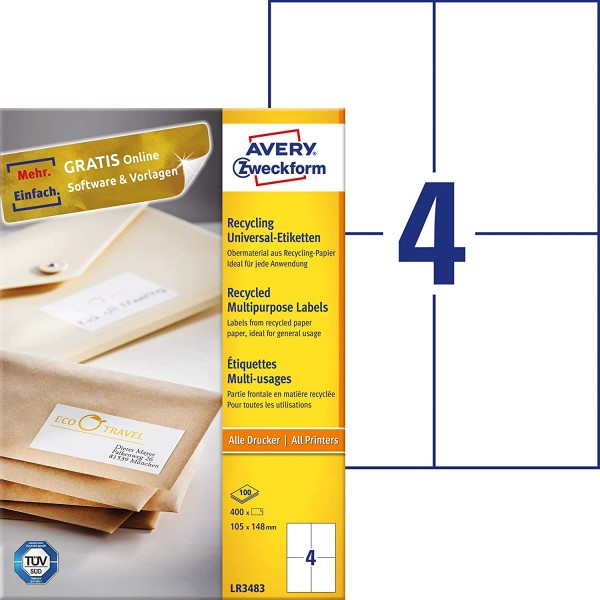 AVERY Zweckform LR3483 Recycling Etiketten (400 Klebeetiketten, 105x148mm auf A4, 100% recyceltes Al