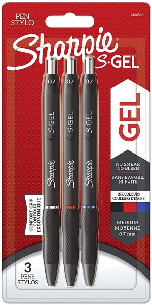 Sharpie S-Gel Gelstifte | mittlere Spitze (0,7 mm) | Gelschreiber mit Schwarzer, blauer & roter Tint