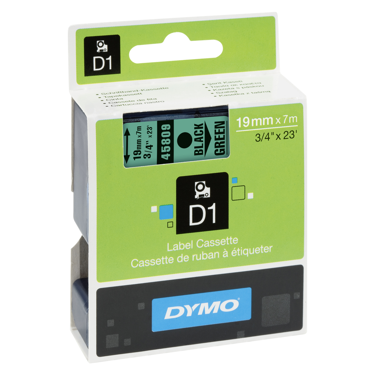 Dymo D1-Schriftband 19mm x 7m schwarz auf grün