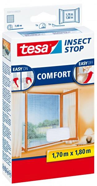 tesa Fliegengitter Comfort Klettband für Fenster 1,7 m : 1,8 m, weiß