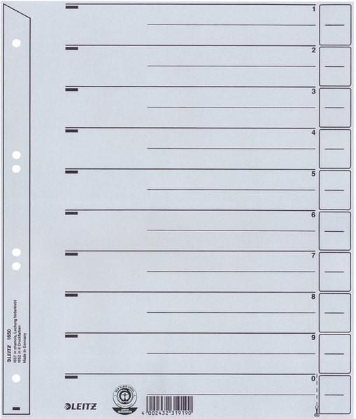 Leitz Trennblätter, Karton, A4 Überbreite, 100 Stück, grau