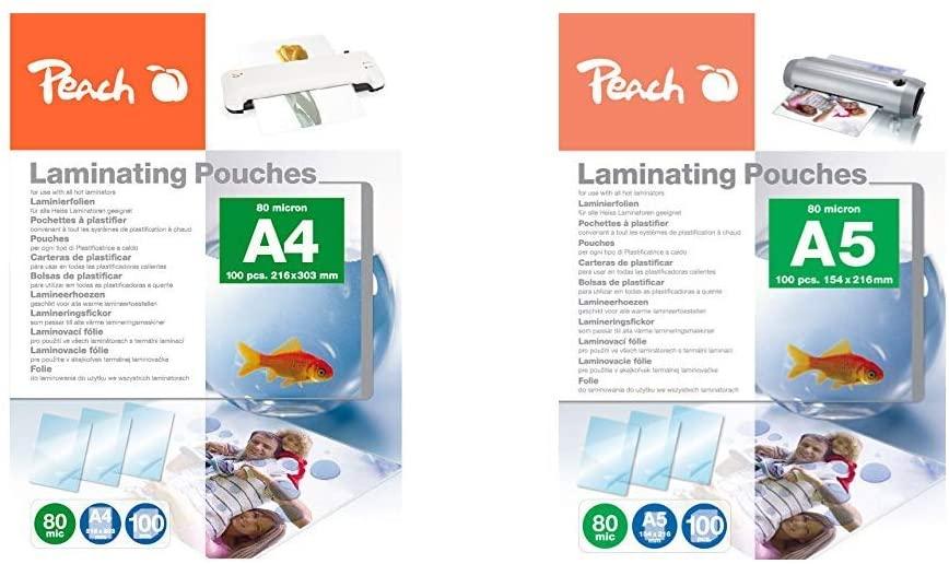 Peach A4 Lam pouch 216x303mm 80mic (5x100)