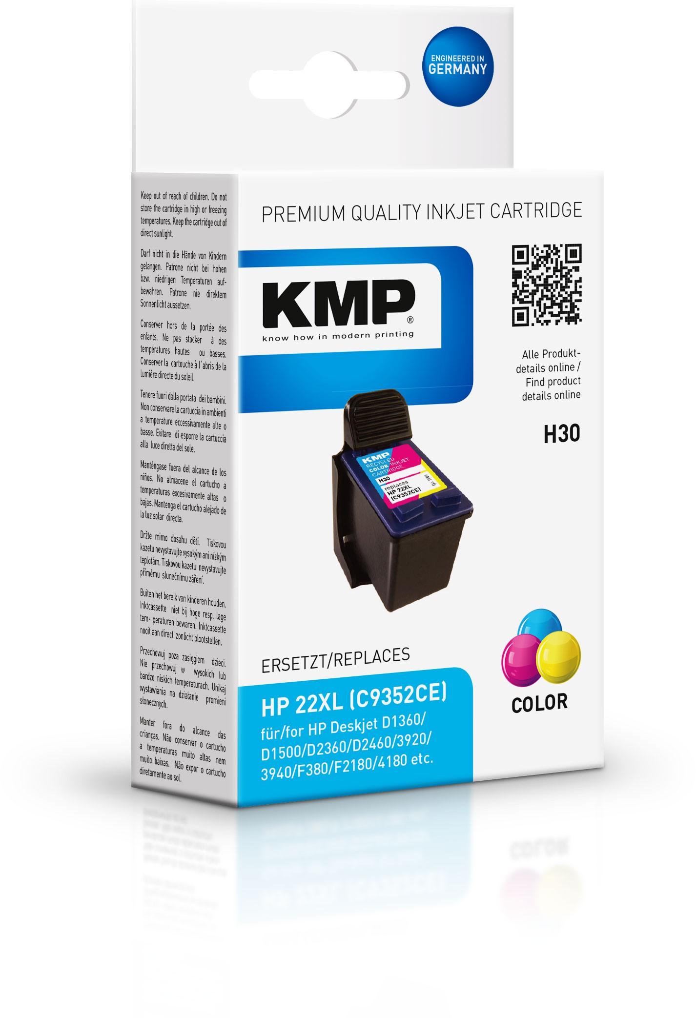 Vorschau: KMP Patrone H30 komp. C9352AE HP22 für HP Deskjet 3940 color