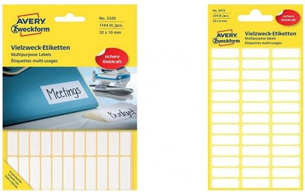 Avery Zweckform 3320 Haushaltsetiketten selbstklebend, blanko, weiß & 3073 Haushaltsetiketten selbst