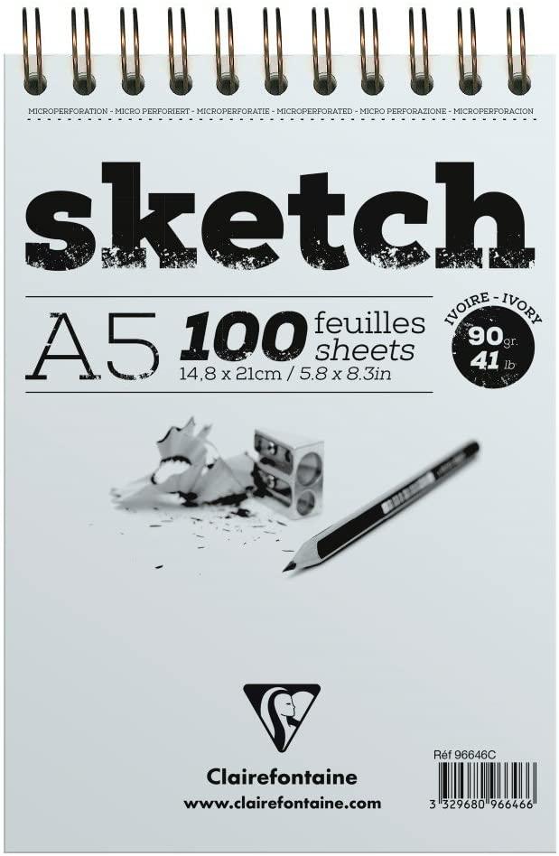 Clairefontaine 96646C Skizzenblock mit Doppelspirale Sketch-Papier, Din A5, 14.8 x 21 cm, 100 Blatt,