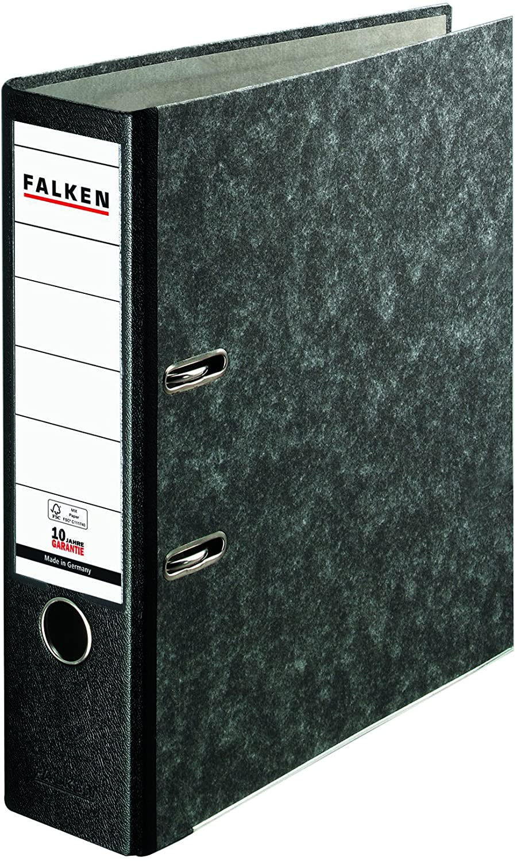Original Falken Recycling Plus Ordner Wolkenmarmor. Made in Germany. 8 cm breit DIN A4 schwarzer Rüc