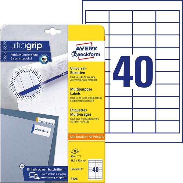 AVERY Zweckform 6126 Universal Etiketten (mit ultragrip, 48,5 x 25,4 mm auf DIN A4, Papier matt, bed