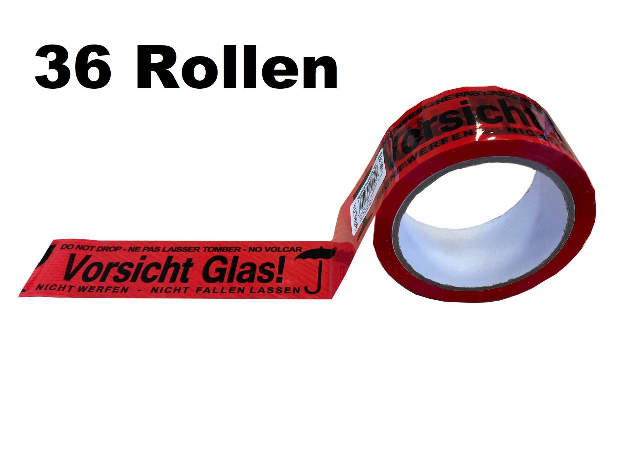 GP: 0,01 EUR/m 36x Klebeband VORSICHT GLAS - NICHT WERFEN - Rolle 66m x 50mm - NICHT FALLEN LASSEN