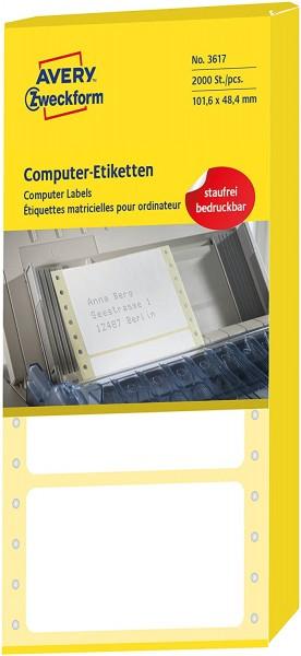 AVERY Zweckform 3617 Computer-Etiketten (Papier matt, 2,000 Etiketten, 101,6 x 48,4 mm) 1 Pack weiß