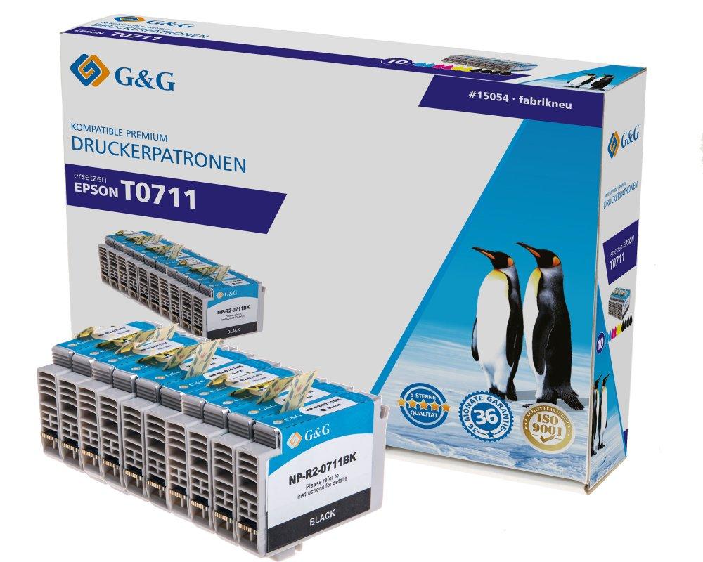 G&G Tinte ersetzt Epson T0711, T0712, T0713, T0714, T0715 Kompatibel 10er-Pack Schwarz, Cyan, Magent