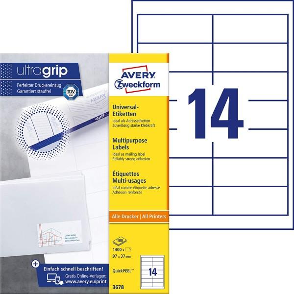AVERY Zweckform 3678 Adressaufkleber (1.400 Klebeetiketten, 97x37mm auf A4, Papier matt, individuell