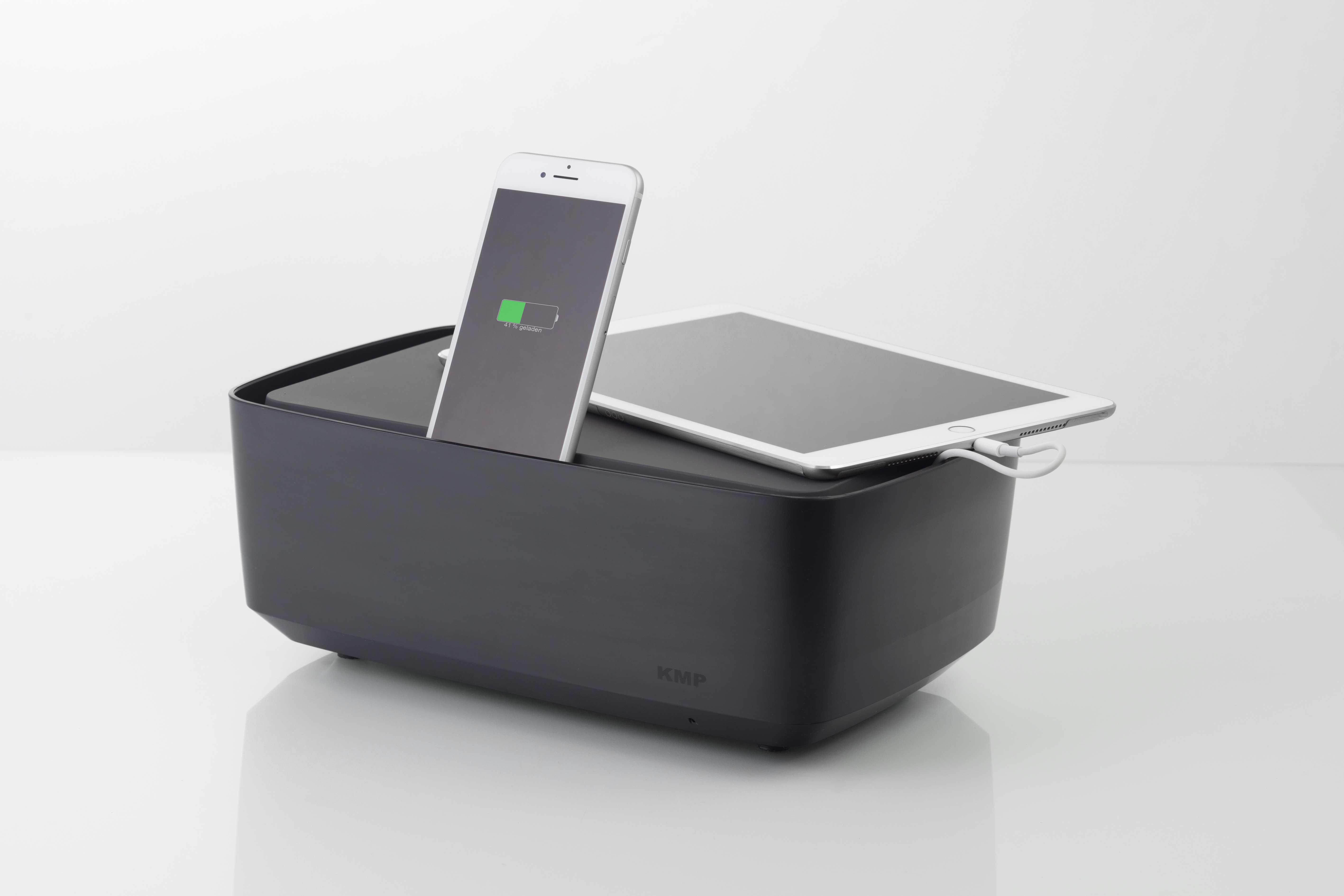 KMP Protective Box Ladestation für iPad, iPhone, schwarz