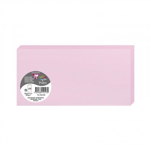 Vorschau: Clairefontaine 12513C Packung mit 25 Doppelkarten, gefaltet 210g, in Format DL, 106 x 213mm, Bonbonr