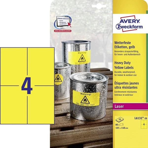 AVERY Zweckform L6132-20 Wetterfeste Folienetiketten (105x148 mm auf DIN A4, extrem stark selbstkleb