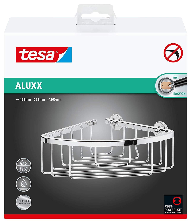 Tesa Aluxx Eckduschkorb (Aluminium, verchromt, rostfrei, inkl. Klebelösung, 92mm x 192mm x 200mm) 40
