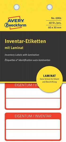 AVERY Zweckform 6904 laminierte Inventaretiketten (extrem stark selbstklebend, Kleinformat, 60x30 mm