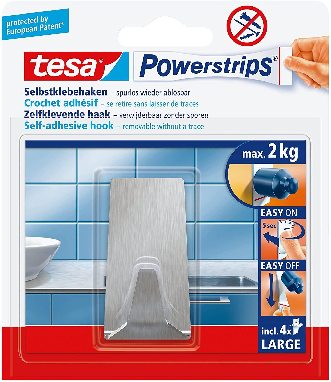 Tesa Powerstrips Haken (Large Metall eckig) silber-matt