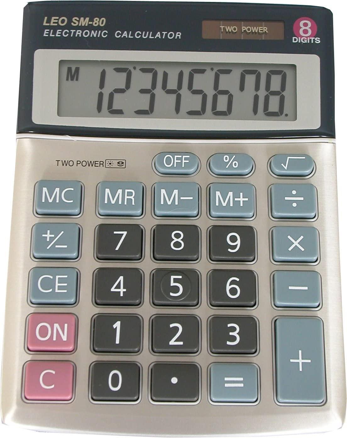 LEO SM-80 Taschenrechner, 8-stellig, LCD Display, two Power, 4 Speichertasten