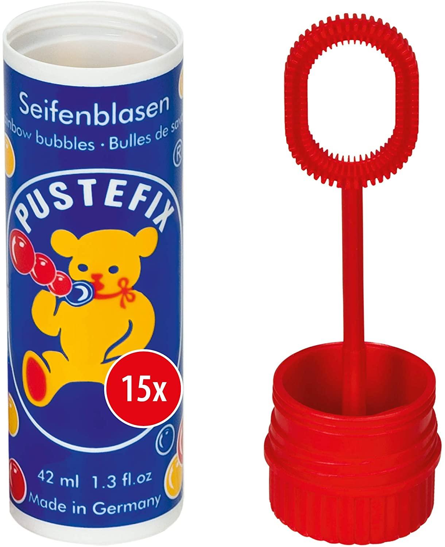 Pustefix Seifenblasen Set I 15 x Kleinpackung Klassik I Bunte Rainbow Bubbles Made in Germany I Seif