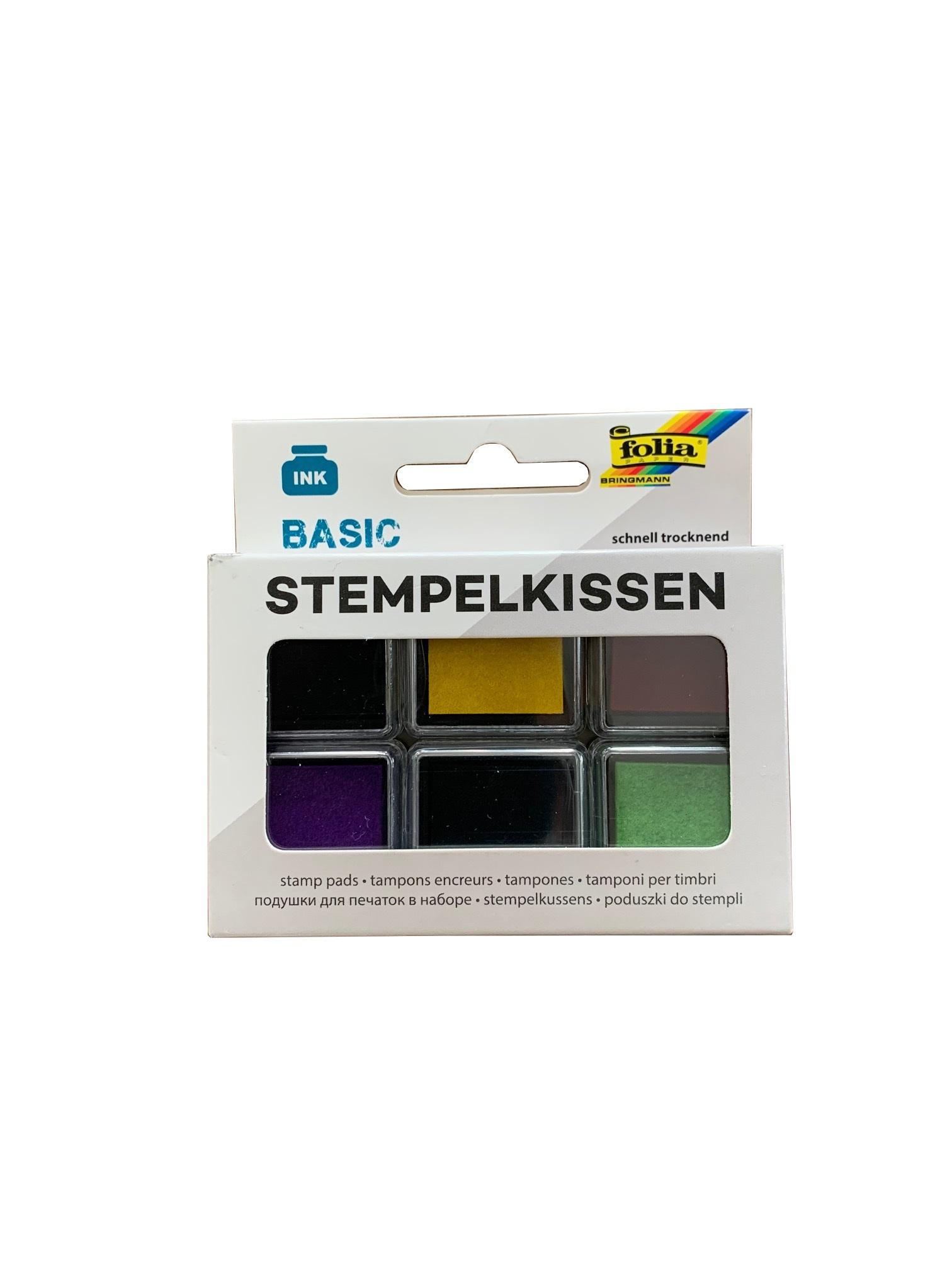 folia 30180 Stempelkissen Set BASIC, 6 Stück farbig sortiert