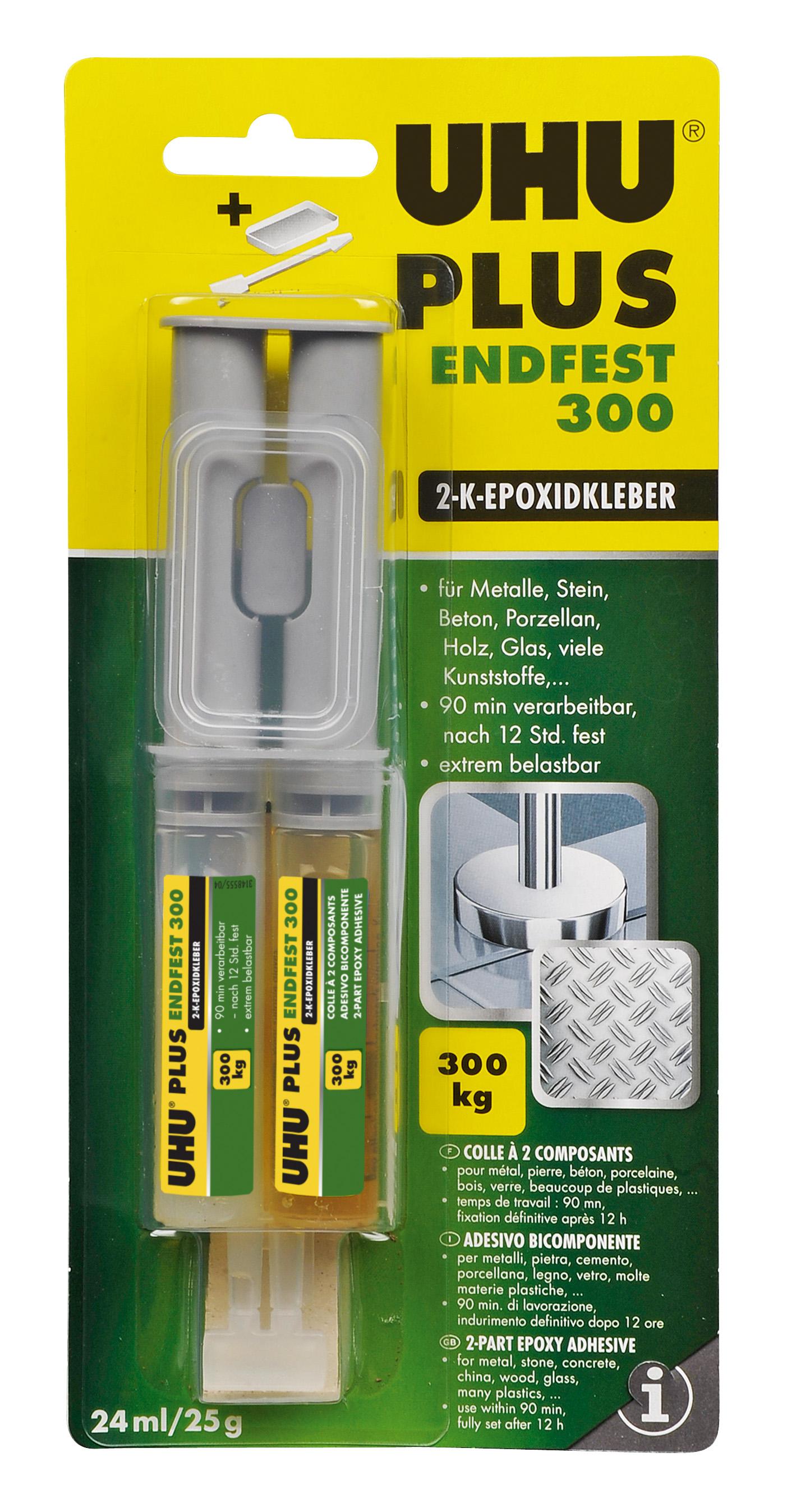 UHU plus endfest 2-Komponenten-Epoxidharzkleber Doppelkammerspritze 25g Infokarte