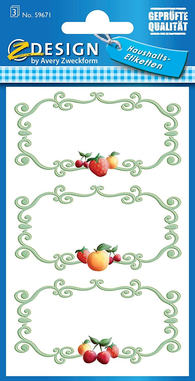 AVERY Zweckform 59671 Marmeladen Etiketten Zier Rahmen (wiederablösbar) 9 Aufkleber