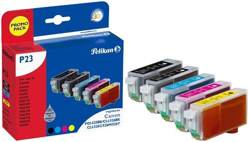 Pelikan Patrone Promo Pack P23 komp. zu PGI-525BK Canon Pixma iP4850 CLI-526 bk c m y