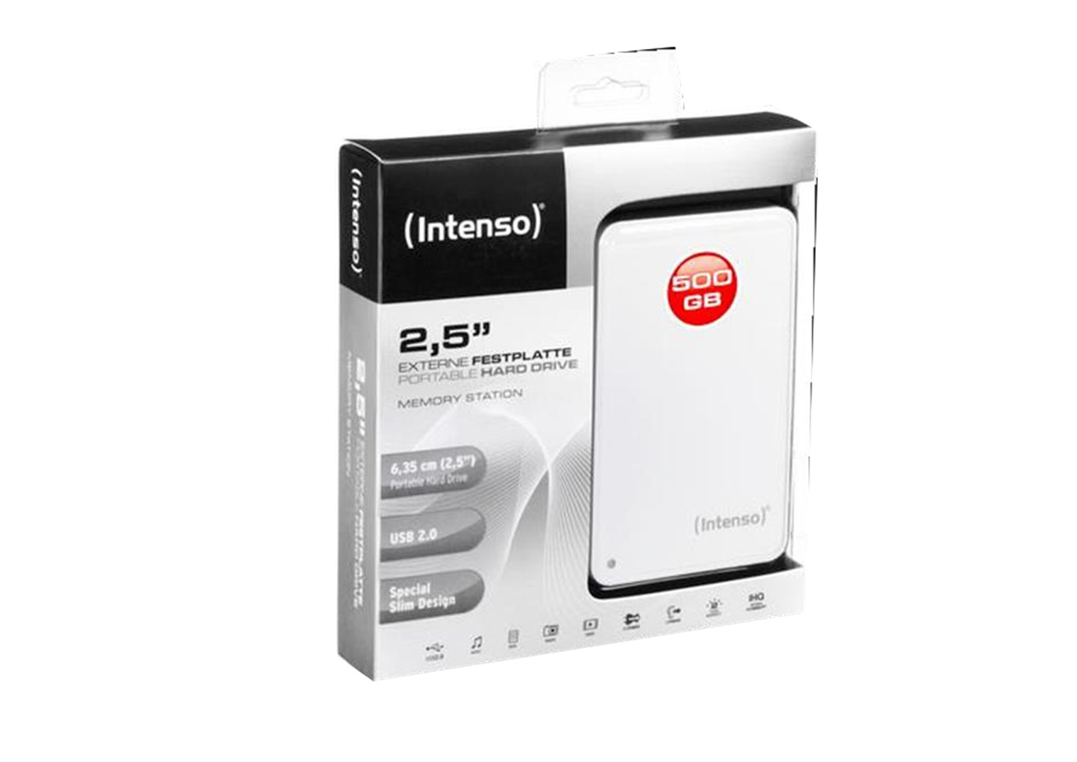 Intenso 2.5 HDD Drive 500GB USB2.0 white