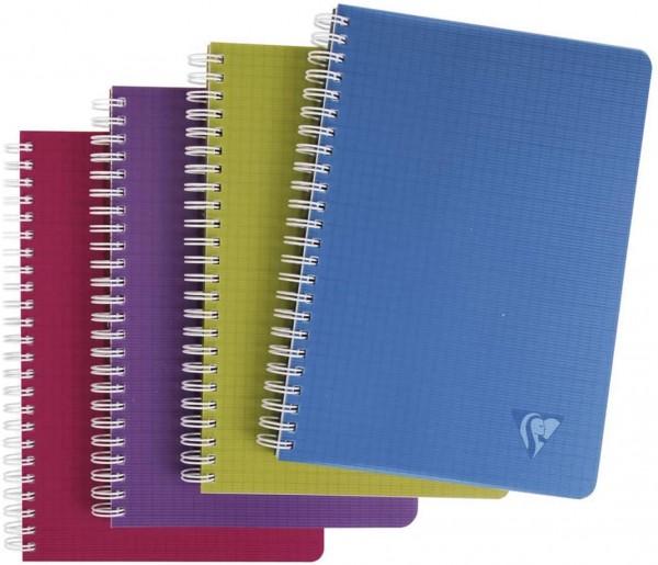 Clairefontaine 329506C Spiralbuch (Linicolor Intense, DIN A5, kariert, 90 Blatt) 1 Stück farbig sort