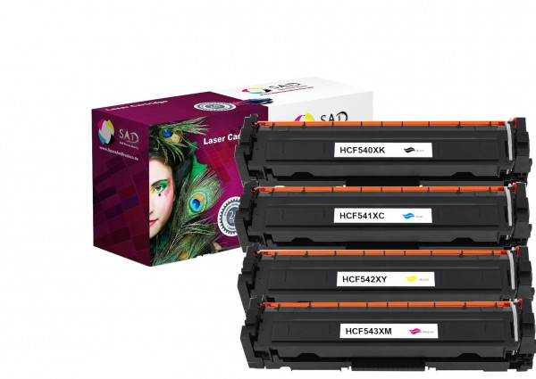 SAD 4er Set Premium Toner komp. zu HP 203X - CF540X + CF541X + CF542X + CF543X black cyan magenta ye