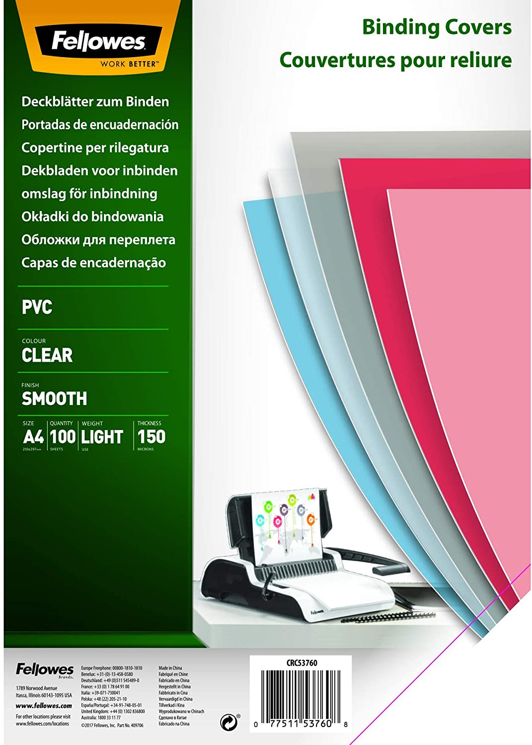 Fellowes 5376001 PVC Deckblätter, A4, 150 Mikron, transparent, 100er Pack