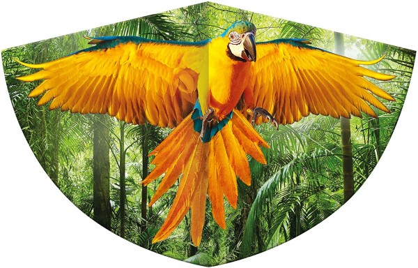 Paul Günther 1179 - Kinderdrachen mit einem Papagei als Motiv, Einleinerdrachen aus robuster PE-Foli