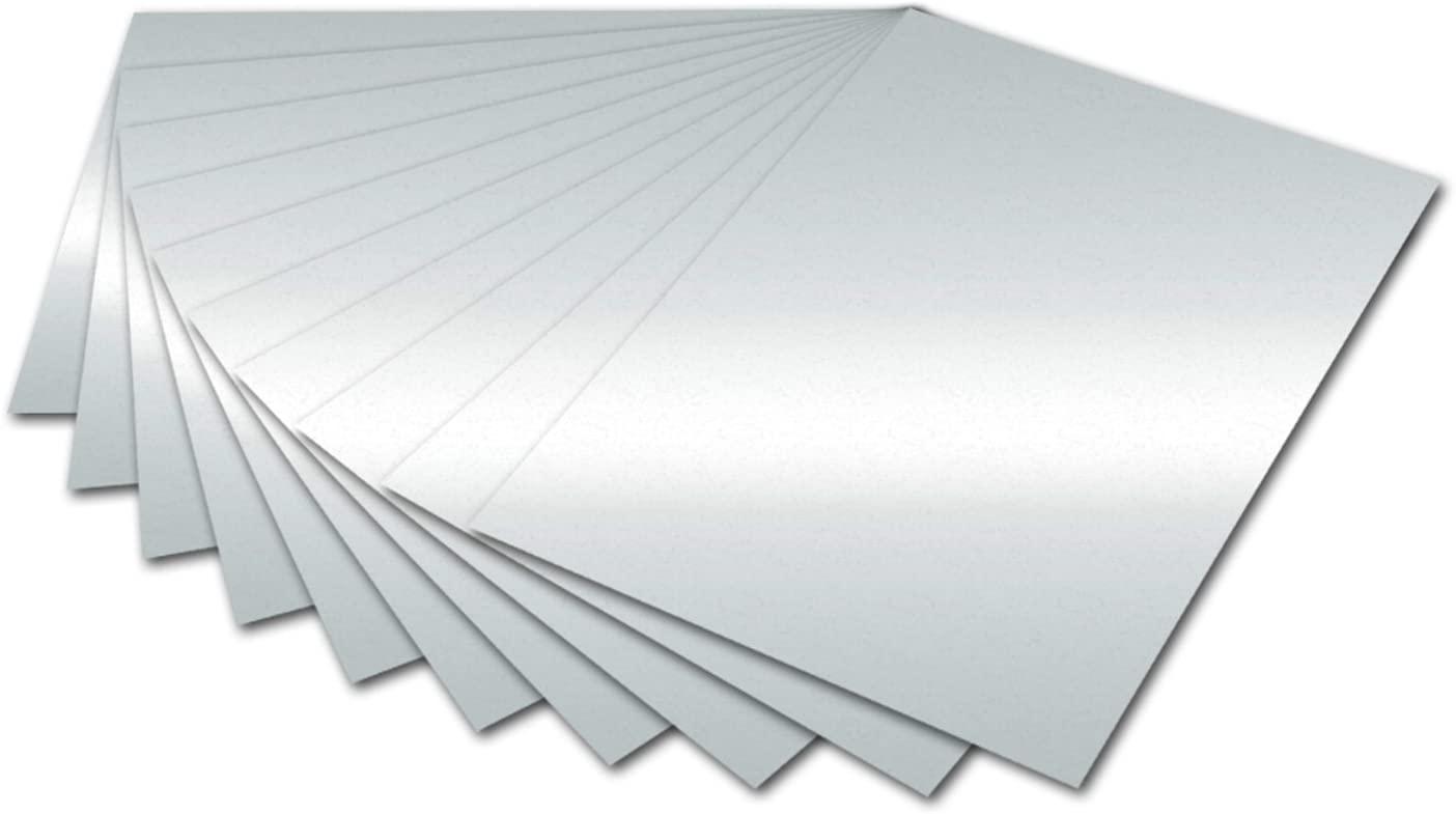 folia 6161 - Fotokarton Silber glänzend, 50 x 70 cm, 300 g/qm, 10 Bogen - zum Basteln und kreativen