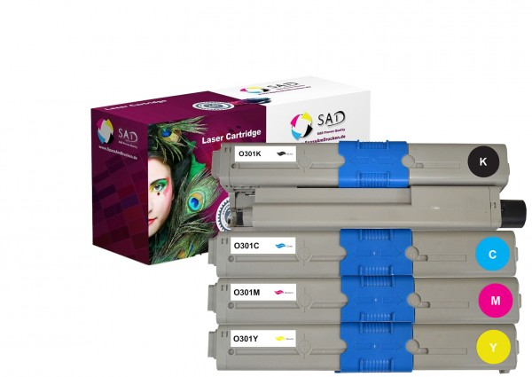 4er Set SAD Premium Toner komp. zu OKI 44973536 + 44973535 + 44973534 + 44973533 black, cyan, magent