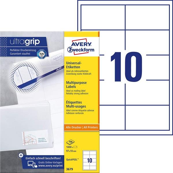 AVERY Zweckform 3679 Adressaufkleber (1.000 Klebeetiketten, 97x55mm auf A4, Papier matt, individuell