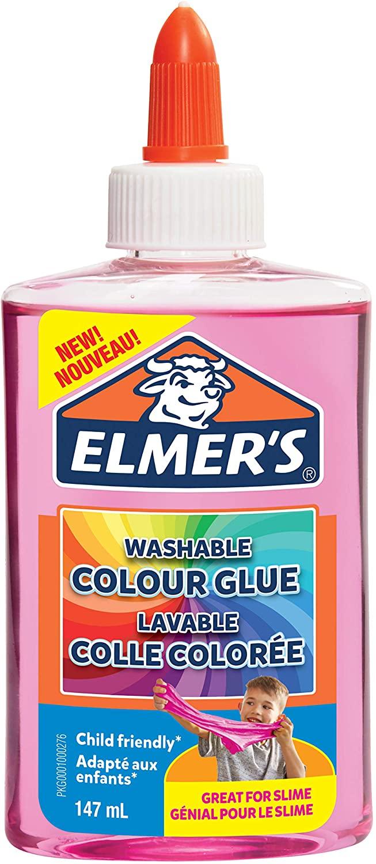 Elmer's transparenter, farbiger PVA-Kleber | pink | 147 ml | auswaschbar | ideal zur Herstellung von