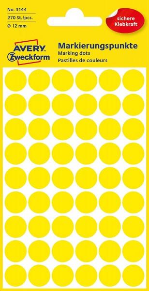 AVERY Zweckform 3144 selbstklebende Markierungspunkte 270 Stück (Ø12mm, Klebepunkte auf 5 Bogen, Pun