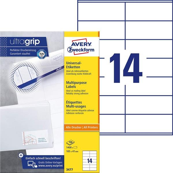 AVERY Zweckform 3477 Adressaufkleber (1.400 Klebeetiketten, 105x41mm auf A4, Papier matt, individuel
