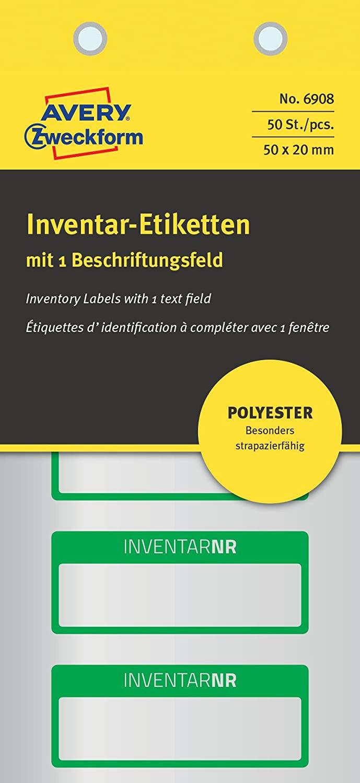 AVERY Zweckform 6908 Polyester Inventaretiketten (stark selbstklebend, strapazierbar, Kleinformat, 5