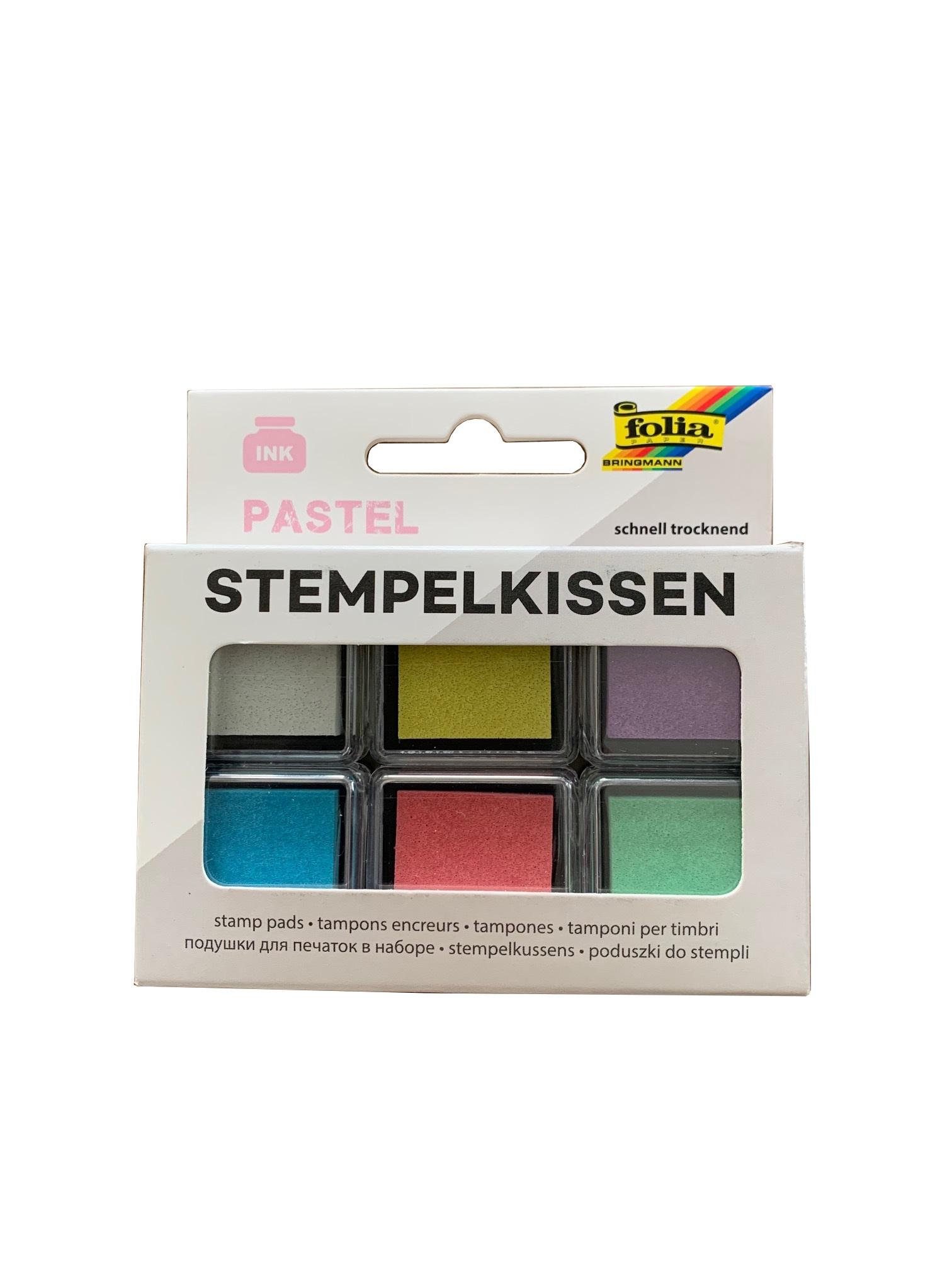 folia 30181 Stempelkissen Set PASTEL, 6 Stück farbig sortiert