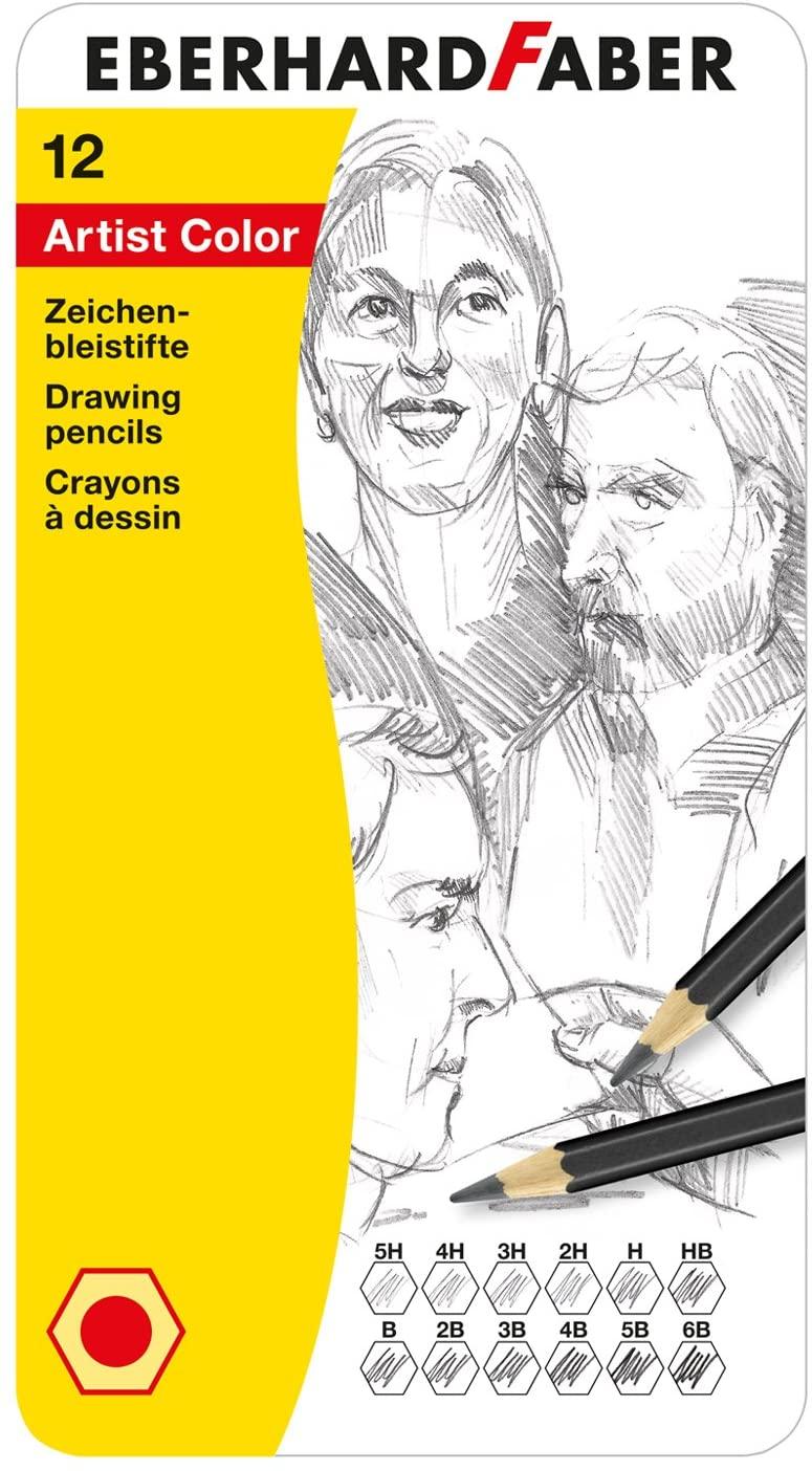 Eberhard Faber 516913 - Artist Color Zeichenbleistifte, 12 verschiedene Härtegrade, im Metalletui, z